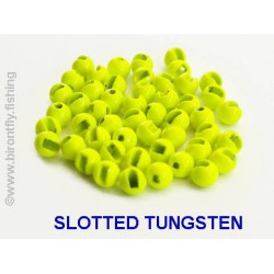 SLOTTED TUNGSTEN BEADS CHARTREUSE
